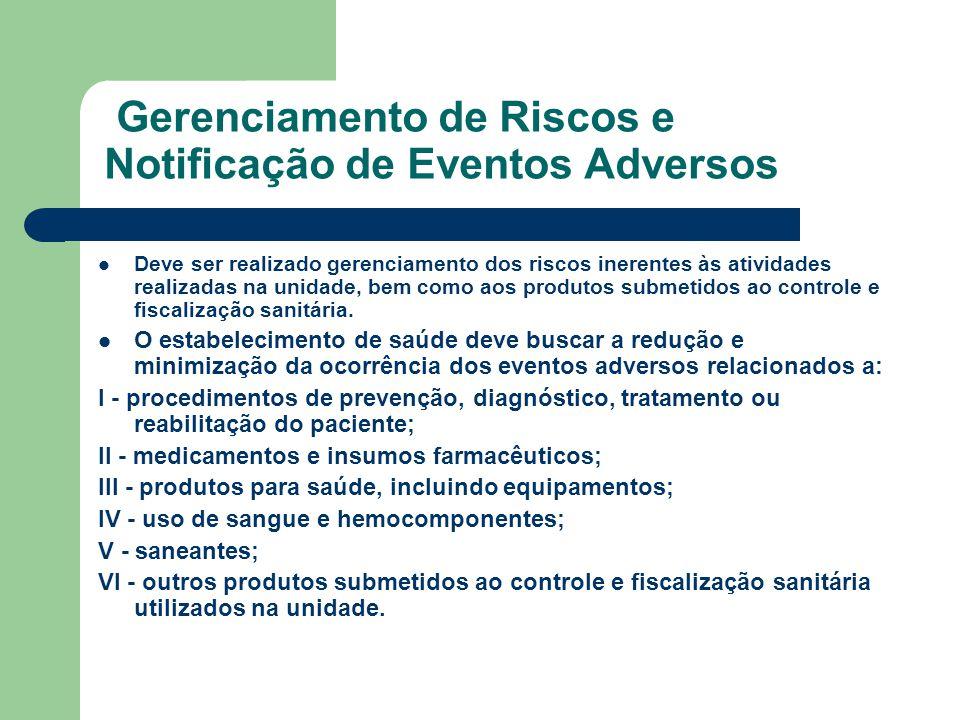 Gerenciamento de Riscos e Notificação de Eventos Adversos Deve ser realizado gerenciamento dos riscos inerentes às atividades realizadas na unidade, b
