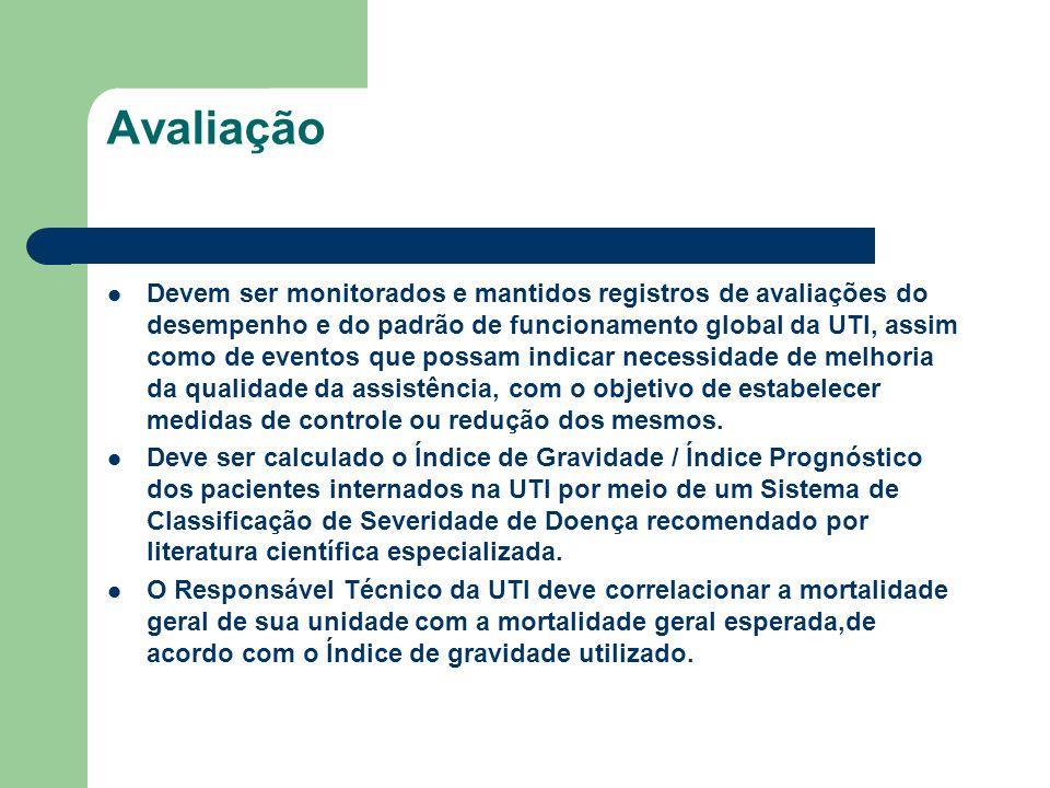 Avaliação Devem ser monitorados e mantidos registros de avaliações do desempenho e do padrão de funcionamento global da UTI, assim como de eventos que
