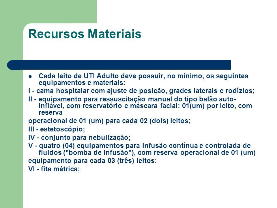 Recursos Materiais Cada leito de UTI Adulto deve possuir, no mínimo, os seguintes equipamentos e materiais: I - cama hospitalar com ajuste de posição,