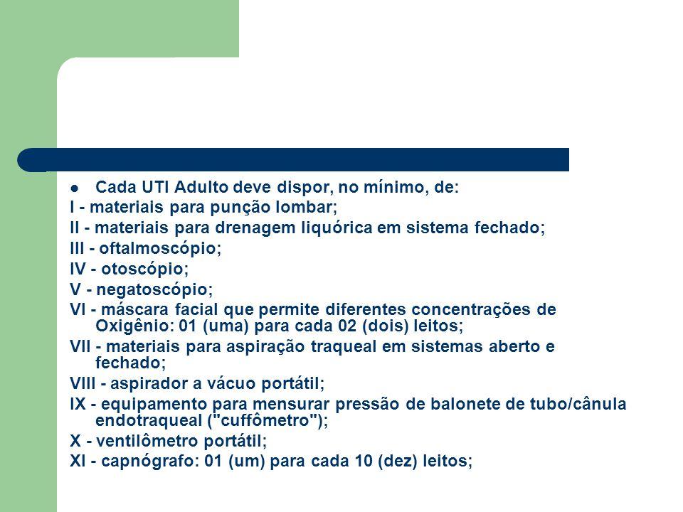 Cada UTI Adulto deve dispor, no mínimo, de: I - materiais para punção lombar; II - materiais para drenagem liquórica em sistema fechado; III - oftalmo