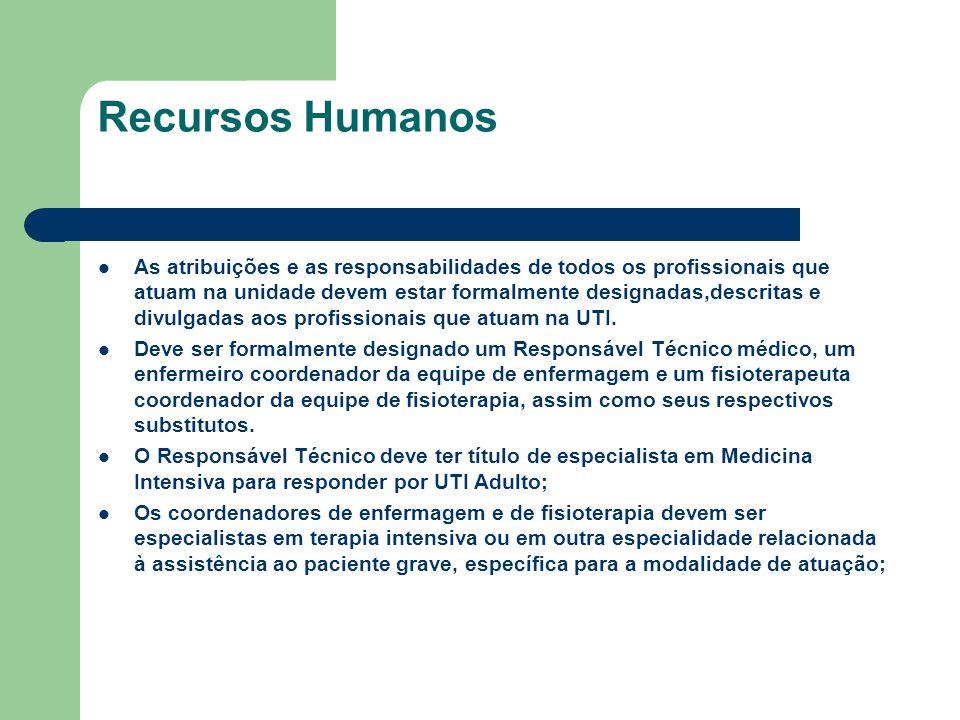 Recursos Humanos As atribuições e as responsabilidades de todos os profissionais que atuam na unidade devem estar formalmente designadas,descritas e d