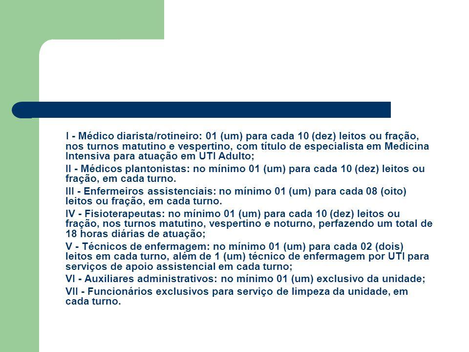 I - Médico diarista/rotineiro: 01 (um) para cada 10 (dez) leitos ou fração, nos turnos matutino e vespertino, com título de especialista em Medicina I