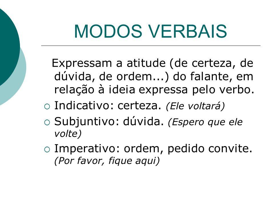 MODOS VERBAIS Expressam a atitude (de certeza, de dúvida, de ordem...) do falante, em relação à ideia expressa pelo verbo. Indicativo: certeza. (Ele v