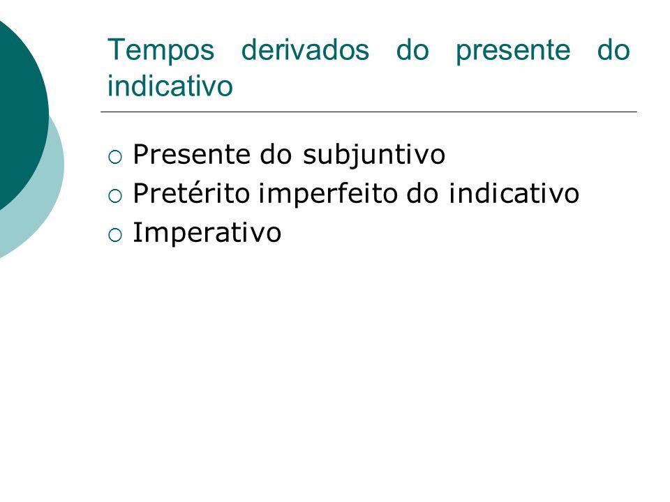 Tempos derivados do presente do indicativo Presente do subjuntivo Pretérito imperfeito do indicativo Imperativo