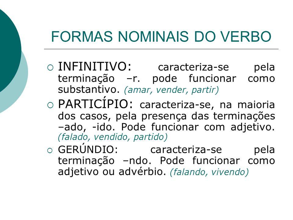 FORMAS NOMINAIS DO VERBO INFINITIVO: caracteriza-se pela terminação –r. pode funcionar como substantivo. (amar, vender, partir) PARTICÍPIO: caracteriz