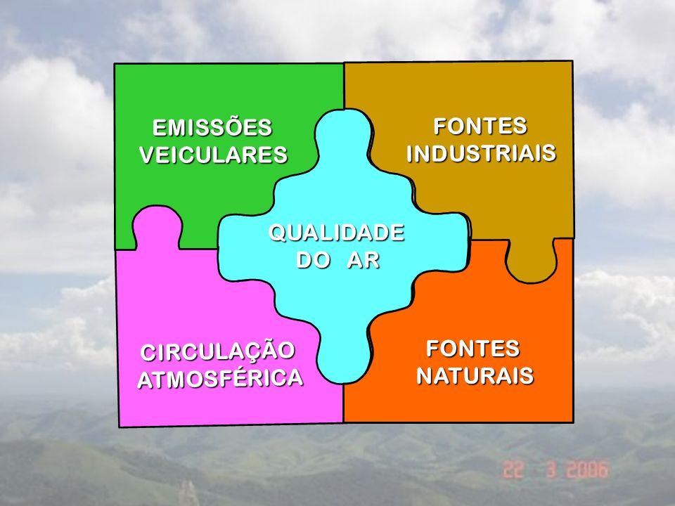Emissões veiculares: Queima incompleta, evaporação e (re)distribuição de combustíveis: CO, NOx, COV e MP. Fontes Indsutriais: SO2, NOx, NOx, MP e outr