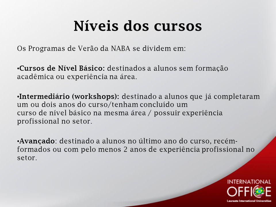 Níveis dos cursos Os Programas de Verão da NABA se dividem em: Cursos de Nível Básico: destinados a alunos sem formação acadêmica ou experiência na área.