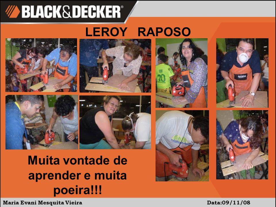 Maria Evani Mesquita Vieira Data:09/11/08 LEROY RAPOSO Muita vontade de aprender e muita poeira!!!