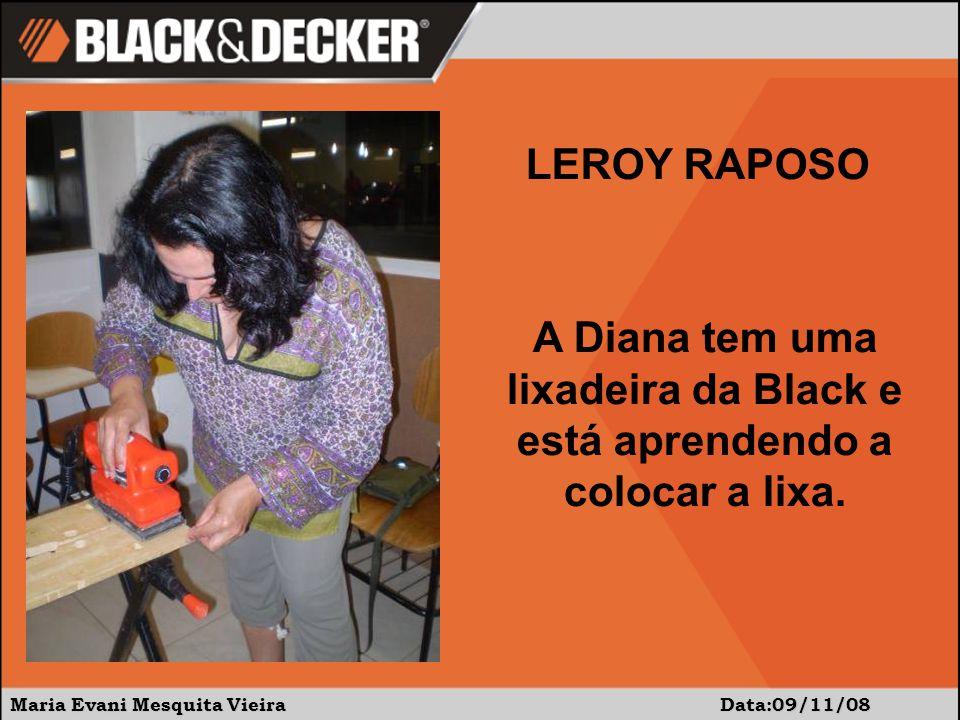 Maria Evani Mesquita Vieira Data:09/11/08 A Diana tem uma lixadeira da Black e está aprendendo a colocar a lixa.