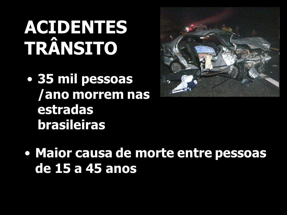 ACIDENTES TRÂNSITO 35 mil pessoas /ano morrem nas estradas brasileiras Maior causa de morte entre pessoas de 15 a 45 anos