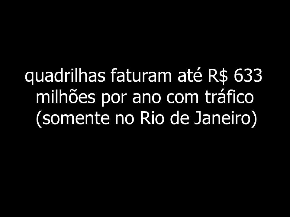 quadrilhas faturam até R$ 633 milhões por ano com tráfico (somente no Rio de Janeiro)