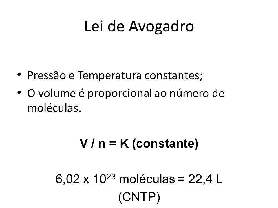 Lei de Avogadro Pressão e Temperatura constantes; O volume é proporcional ao número de moléculas. V / n = K (constante) 6,02 x 10 23 moléculas = 22,4