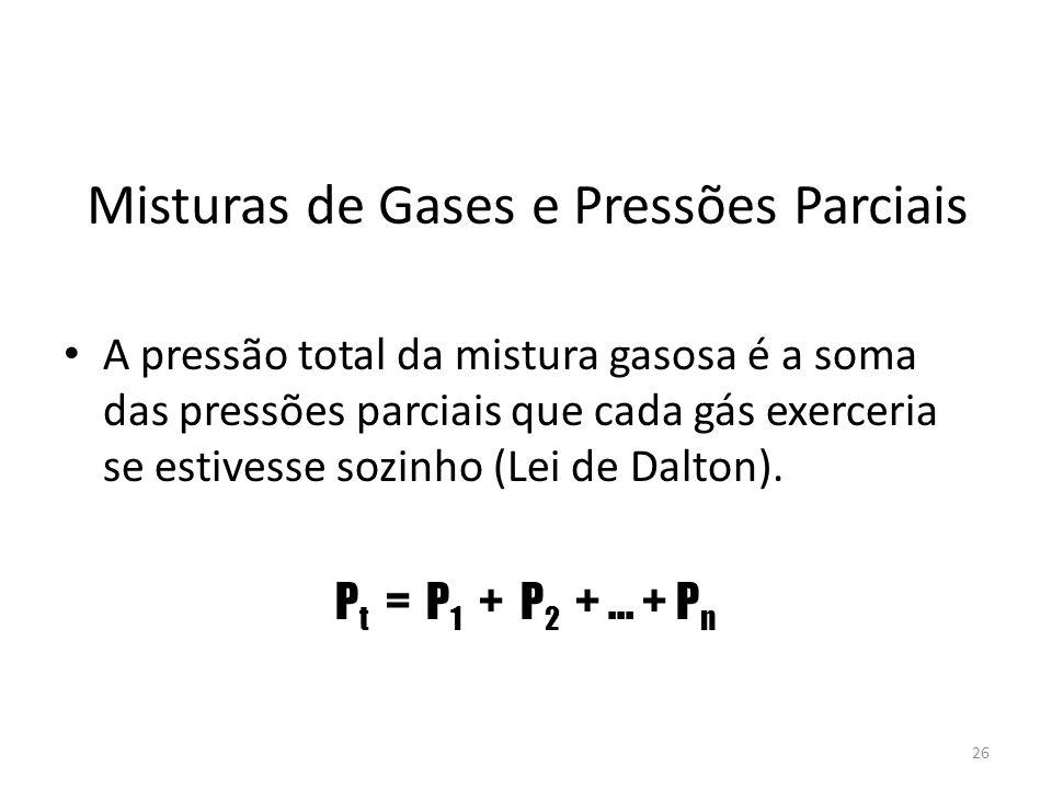 Misturas de Gases e Pressões Parciais A pressão total da mistura gasosa é a soma das pressões parciais que cada gás exerceria se estivesse sozinho (Le