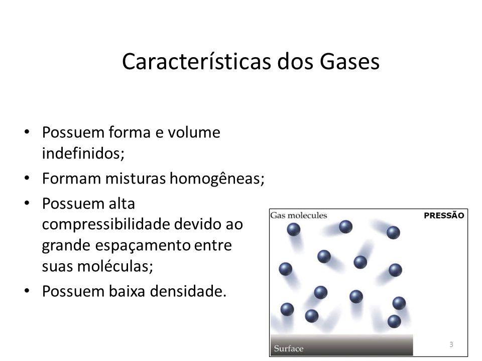 Características dos Gases Possuem forma e volume indefinidos; Formam misturas homogêneas; Possuem alta compressibilidade devido ao grande espaçamento