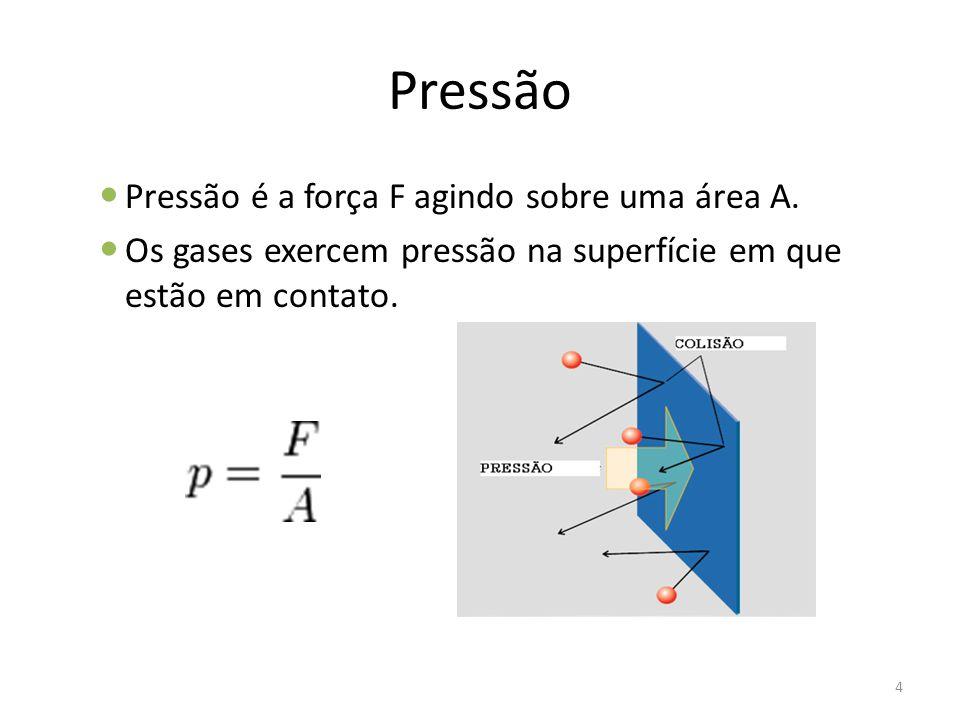Pressão Pressão é a força F agindo sobre uma área A. Os gases exercem pressão na superfície em que estão em contato. 4