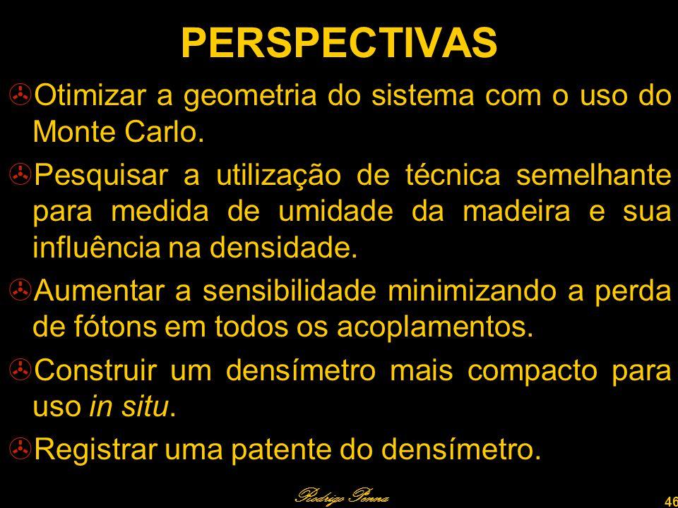 Rodrigo Penna 46 PERSPECTIVAS Otimizar a geometria do sistema com o uso do Monte Carlo.