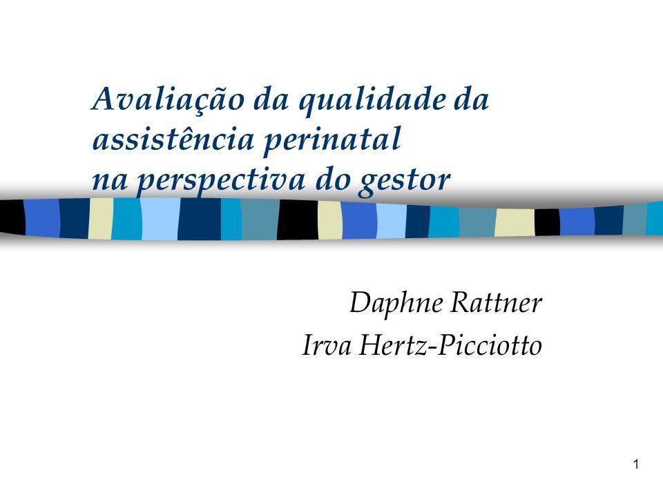 1 Avaliação da qualidade da assistência perinatal na perspectiva do gestor Daphne Rattner Irva Hertz-Picciotto