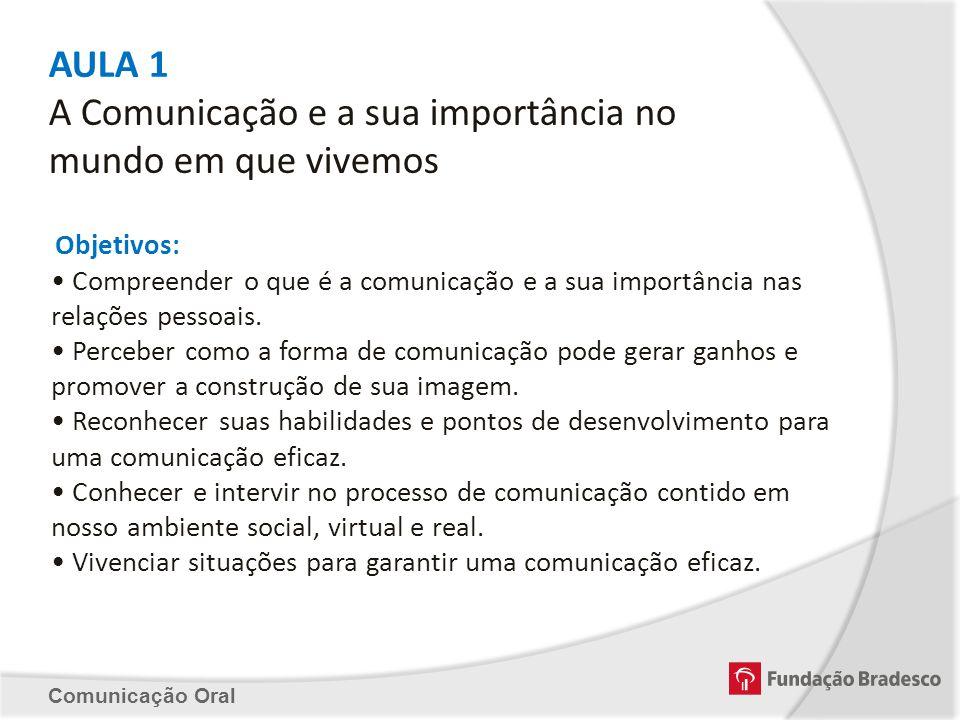 AULA 1 A Comunicação e a sua importância no mundo em que vivemos Objetivos: Compreender o que é a comunicação e a sua importância nas relações pessoai