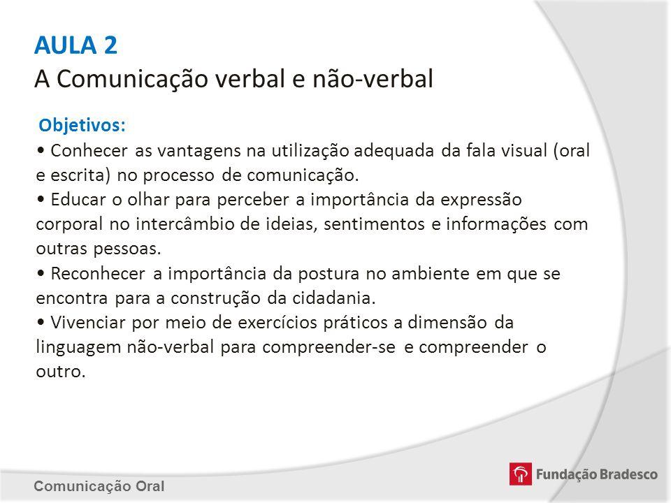 AULA 2 A Comunicação verbal e não-verbal Objetivos: Conhecer as vantagens na utilização adequada da fala visual (oral e escrita) no processo de comuni