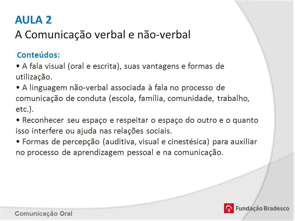 AULA 2 A Comunicação verbal e não-verbal Conteúdos: A fala visual (oral e escrita), suas vantagens e formas de utilização. A linguagem não-verbal asso