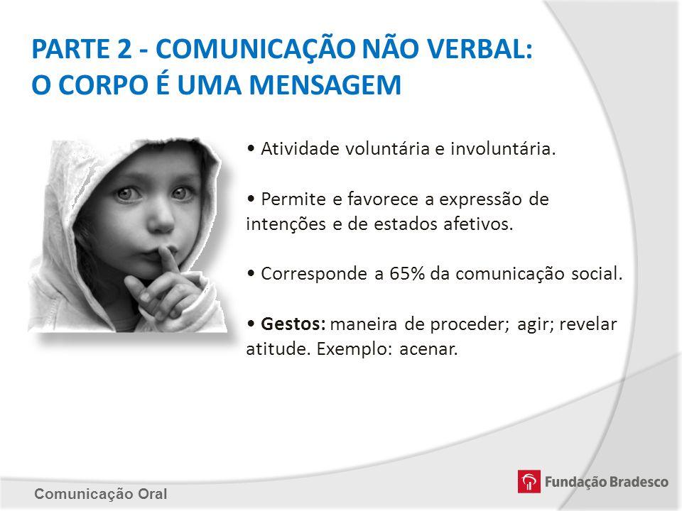 Comunicação Oral PARTE 2 - COMUNICAÇÃO NÃO VERBAL: O CORPO É UMA MENSAGEM Atividade voluntária e involuntária. Permite e favorece a expressão de inten