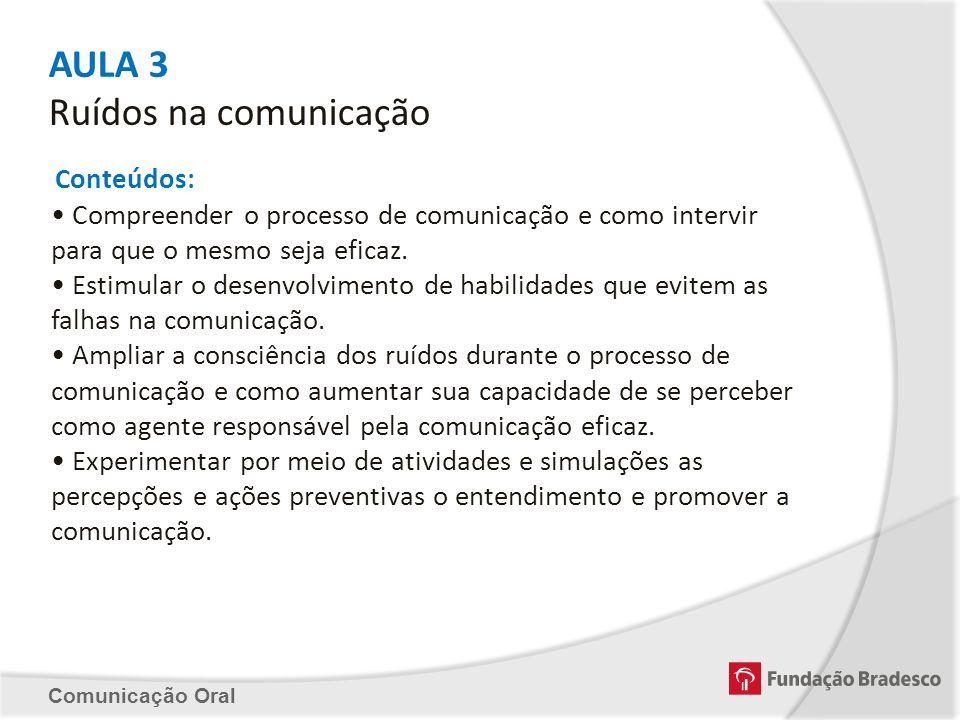 AULA 3 Ruídos na comunicação Conteúdos: Compreender o processo de comunicação e como intervir para que o mesmo seja eficaz. Estimular o desenvolviment