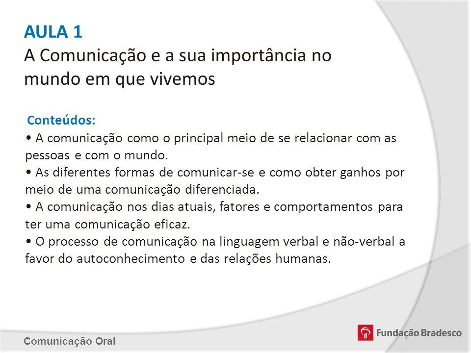 AULA 1 A Comunicação e a sua importância no mundo em que vivemos Conteúdos: A comunicação como o principal meio de se relacionar com as pessoas e com