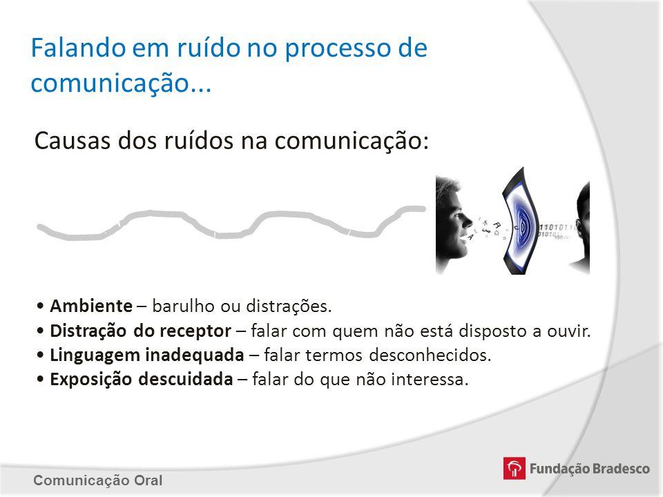 Comunicação Oral Falando em ruído no processo de comunicação... Causas dos ruídos na comunicação: Ambiente – barulho ou distrações. Distração do recep