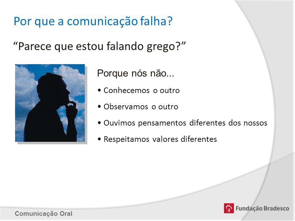 Comunicação Oral Por que a comunicação falha? Parece que estou falando grego? Porque nós não... Conhecemos o outro Observamos o outro Ouvimos pensamen