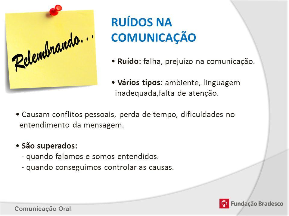 RUÍDOS NA COMUNICAÇÃO Ruído: falha, prejuízo na comunicação. Vários tipos: ambiente, linguagem inadequada,falta de atenção. Causam conflitos pessoais,