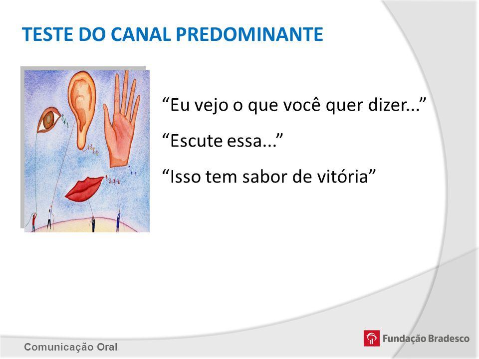 Comunicação Oral TESTE DO CANAL PREDOMINANTE Eu vejo o que você quer dizer... Escute essa... Isso tem sabor de vitória