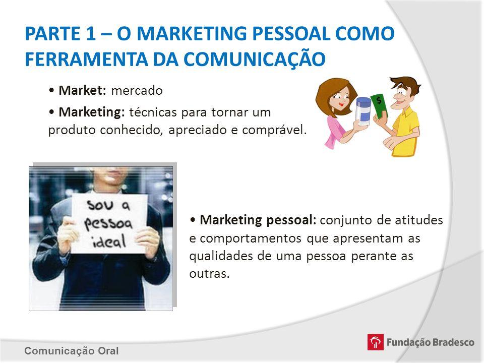 PARTE 1 – O MARKETING PESSOAL COMO FERRAMENTA DA COMUNICAÇÃO Market: mercado Marketing: técnicas para tornar um produto conhecido, apreciado e compráv