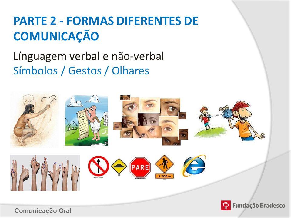 Comunicação Oral PARTE 2 - FORMAS DIFERENTES DE COMUNICAÇÃO Línguagem verbal e não-verbal Símbolos / Gestos / Olhares