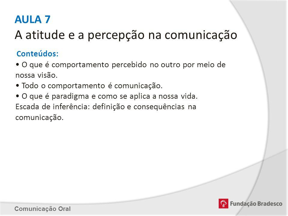 AULA 7 A atitude e a percepção na comunicação Conteúdos: O que é comportamento percebido no outro por meio de nossa visão. Todo o comportamento é comu