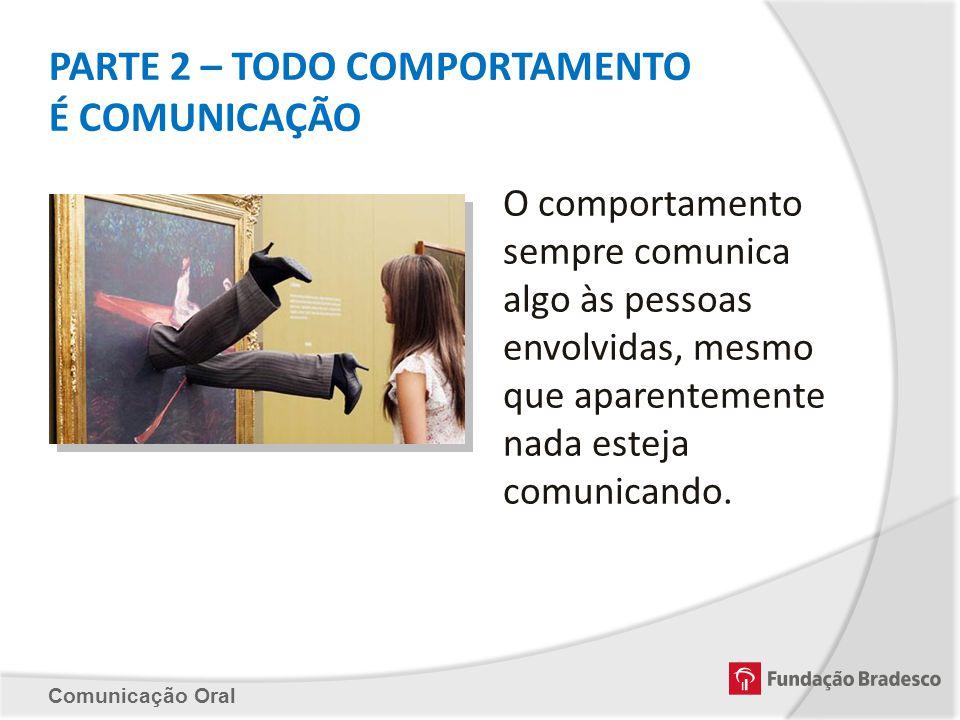 PARTE 2 – TODO COMPORTAMENTO É COMUNICAÇÃO Comunicação Oral O comportamento sempre comunica algo às pessoas envolvidas, mesmo que aparentemente nada e