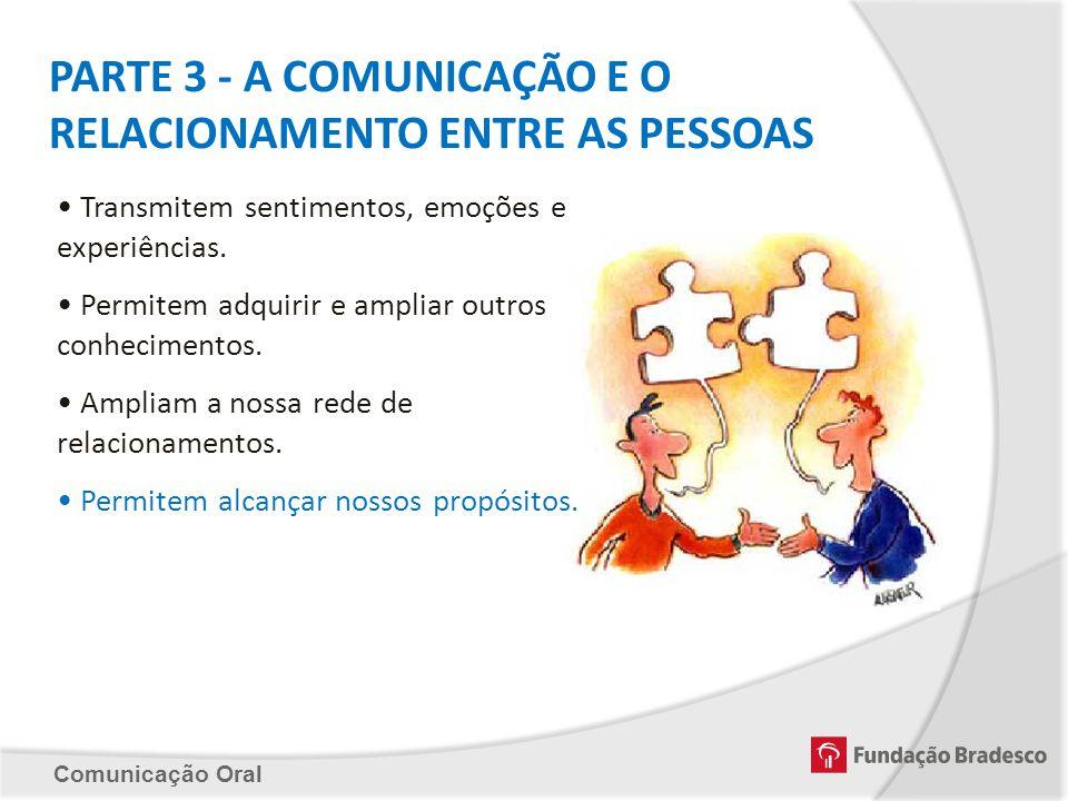 Comunicação Oral PARTE 3 - A COMUNICAÇÃO E O RELACIONAMENTO ENTRE AS PESSOAS Transmitem sentimentos, emoções e experiências. Permitem adquirir e ampli