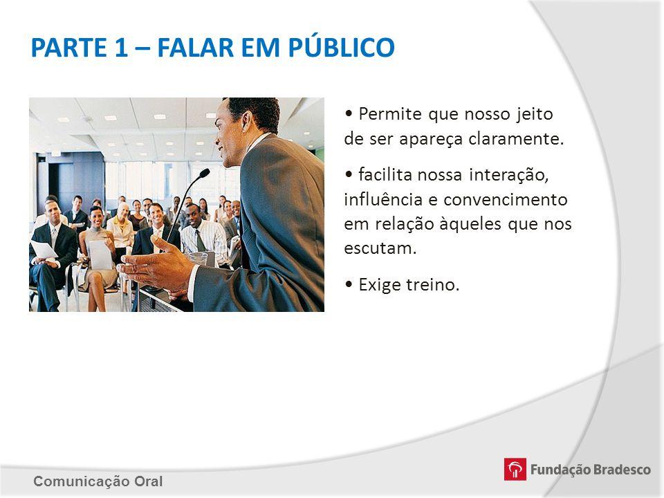 Comunicação Oral PARTE 1 – FALAR EM PÚBLICO Permite que nosso jeito de ser apareça claramente. facilita nossa interação, influência e convencimento em