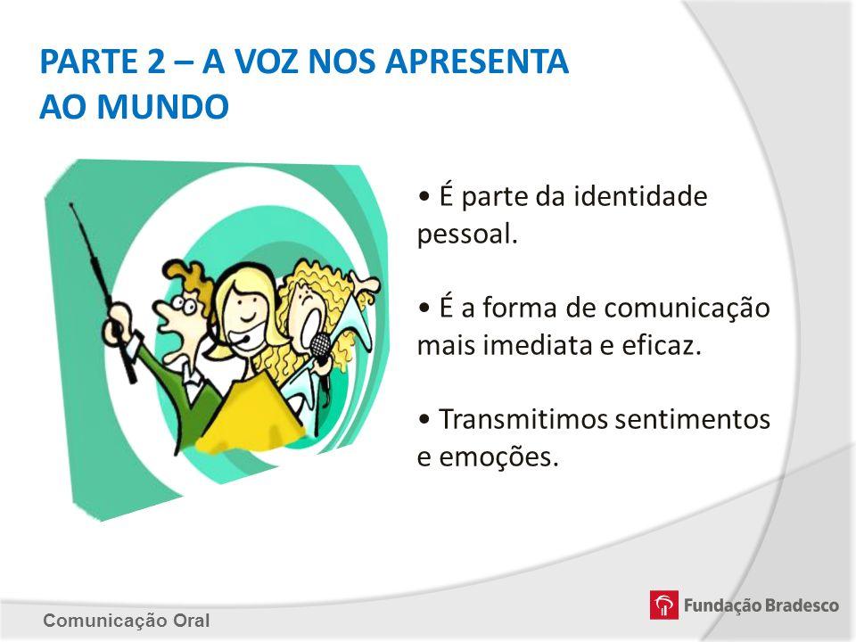 Comunicação Oral PARTE 2 – A VOZ NOS APRESENTA AO MUNDO É parte da identidade pessoal. É a forma de comunicação mais imediata e eficaz. Transmitimos s
