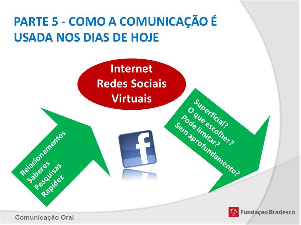 Comunicação Oral PARTE 5 - COMO A COMUNICAÇÃO É USADA NOS DIAS DE HOJE Internet Redes Sociais Virtuais Relacionamentos Saberes Pesquisas Rapidez Super