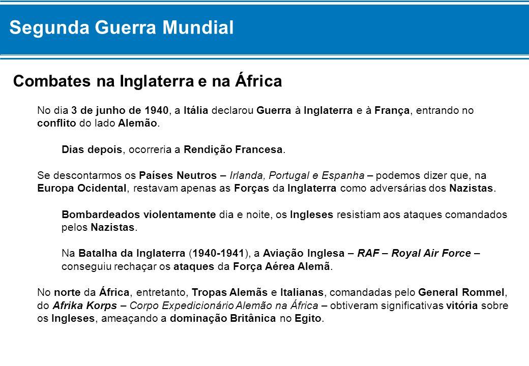 Segunda Guerra Mundial Combates na Inglaterra e na África No dia 3 de junho de 1940, a Itália declarou Guerra à Inglaterra e à França, entrando no con