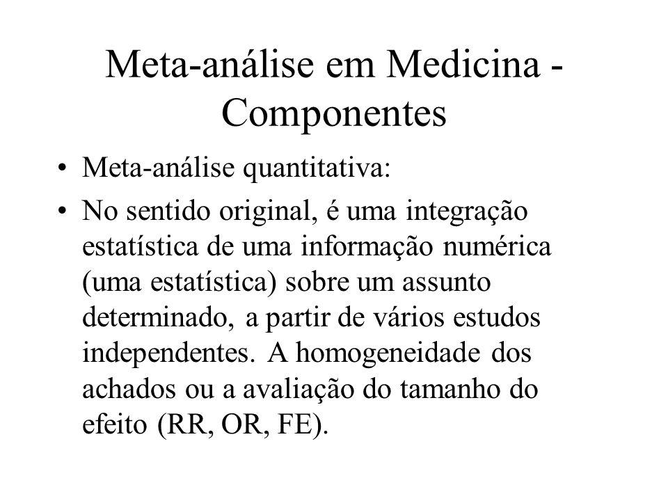 Meta-análise em Medicina - Componentes Meta-análise quantitativa: No sentido original, é uma integração estatística de uma informação numérica (uma es