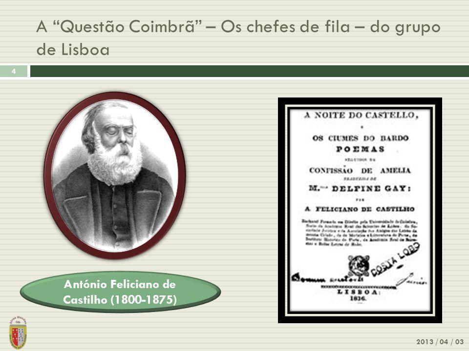 Questão Coimbrã – Os chefes de fila - do grupo de Coimbra 2013 / 04 / 03 5 Antero de Quental (1842-1891) 1ª edição publicada em 1865