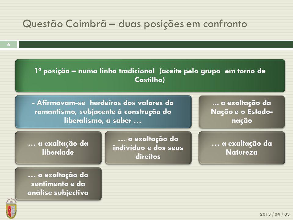 2013 / 04 / 03 7 Questão Coimbrã – duas posições em confronto 2ª posição – uma nova atitude mental (defendida pelo grupo de Coimbra) …os objectivos, temáticas e processos literários devem reflectir as novas doutrinas filosóficas e científicas e as novas realidades sociais.