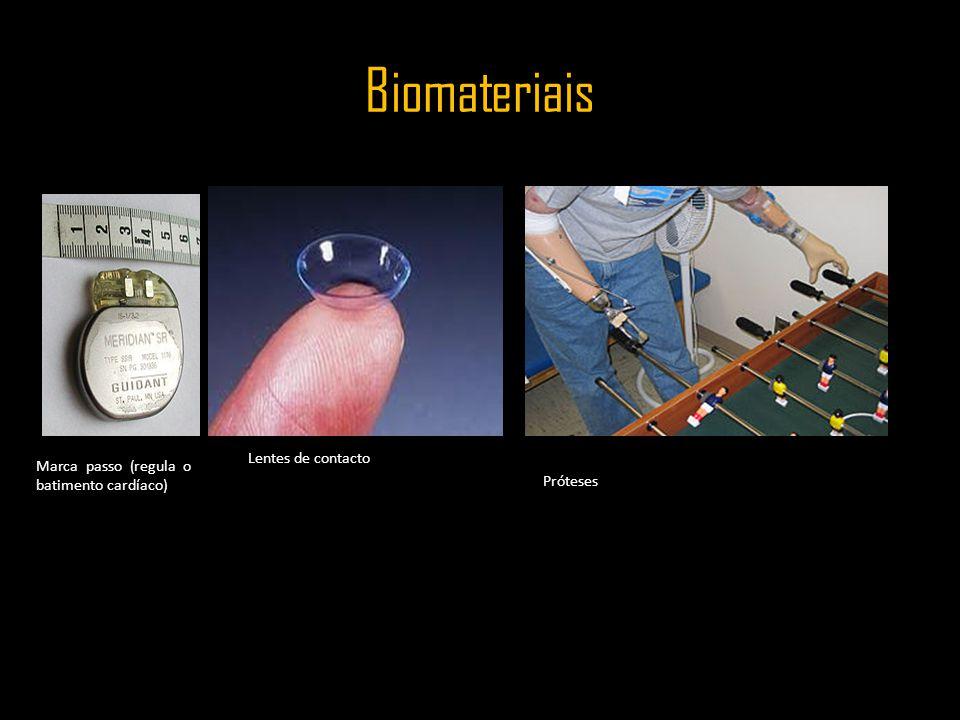 Biomateriais Marca passo (regula o batimento cardíaco) Lentes de contacto Próteses