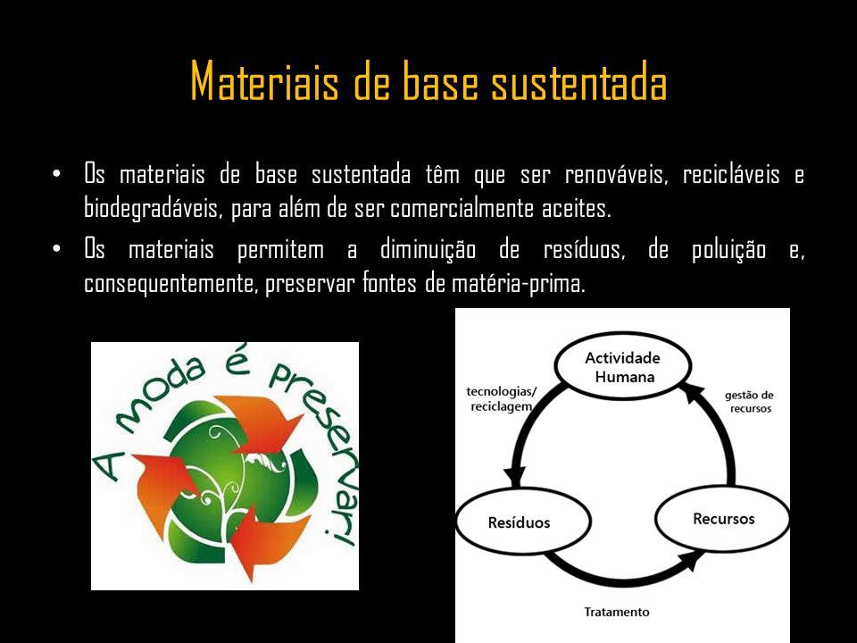 Materiais de base sustentada Os materiais de base sustentada têm que ser renováveis, recicláveis e biodegradáveis, para além de ser comercialmente ace