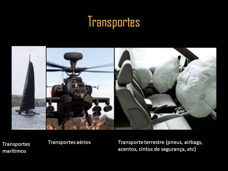 Transportes Transportes aériosTransporte terrestre (pneus, airbags, acentos, cintos de segurança, etc) Transportes marítimos