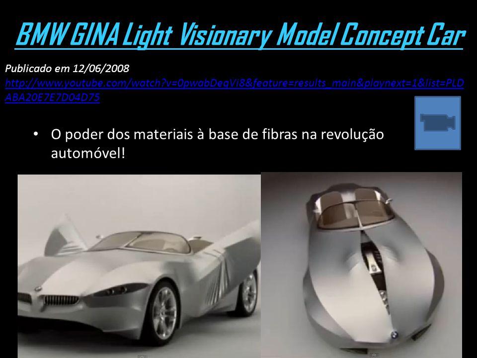 BMW GINA Light Visionary Model Concept Car O poder dos materiais à base de fibras na revolução automóvel! Publicado em 12/06/2008 http://www.youtube.c