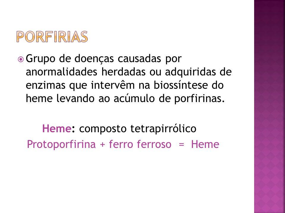 Manifestações Clínicas:.Fotossensibilidade moderada-grave, bolhas,úlceras, cicatrizes em áreas expostas.Deformidades mutilantes (acral).Infecção secundária.Cictrizes, Alopécia cicatricial.Onicólise, coiloniquia, melanoníquia.Hiper ou hipopigmentação e hipertricose facial.Esplenomegalia, anemia hemolítica, trombocitopênia.Dentes e urina de cor vermelha (fluorescência)