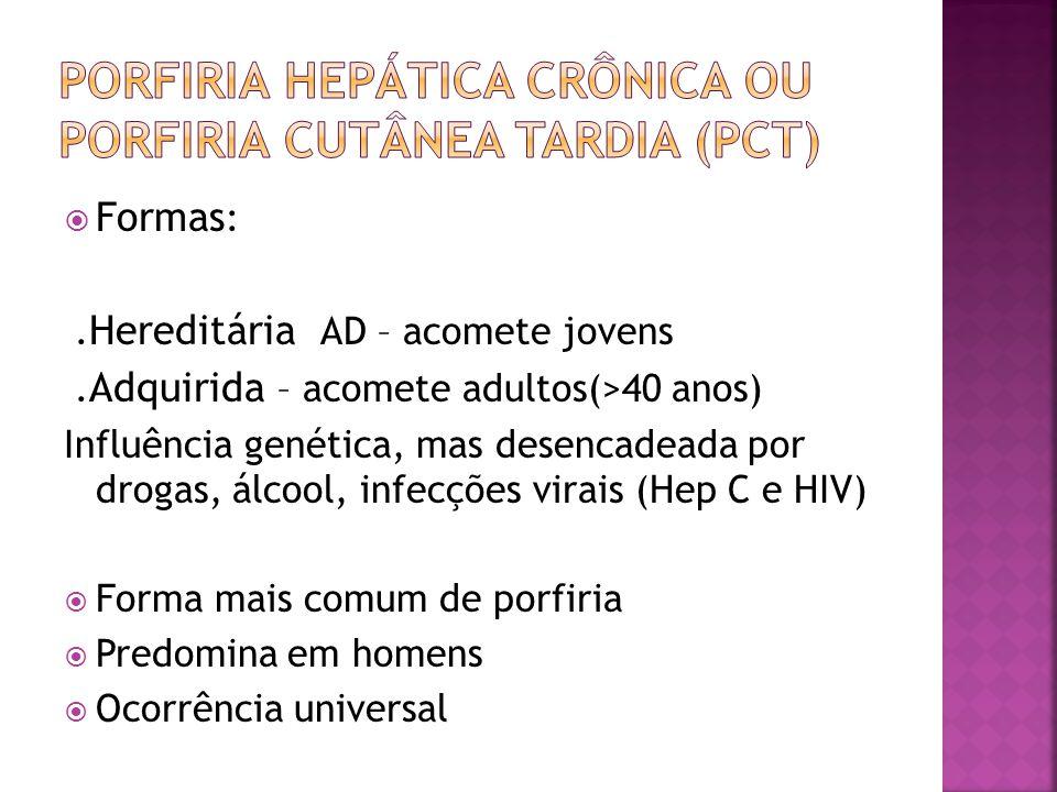 Formas :. Hereditária AD – acomete jovens. Adquirida – acomete adultos(>40 anos) Influência genética, mas desencadeada por drogas, álcool, infecções v