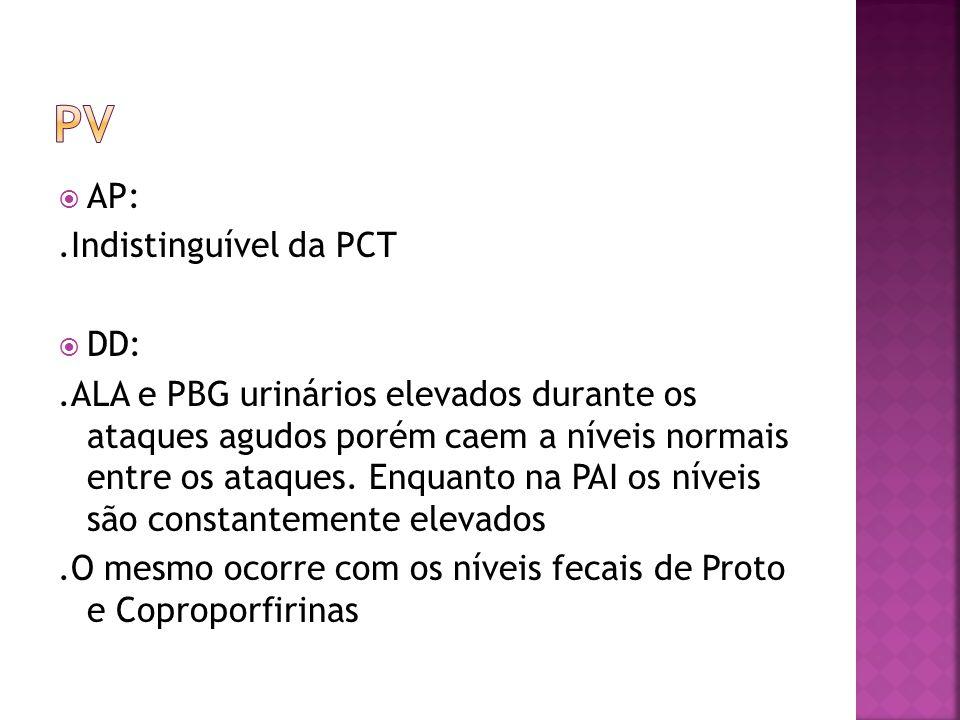 AP:.Indistinguível da PCT DD:.ALA e PBG urinários elevados durante os ataques agudos porém caem a níveis normais entre os ataques. Enquanto na PAI os